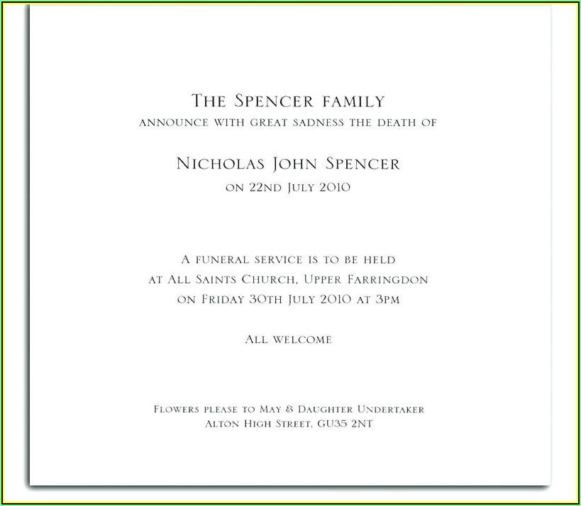 Memorial Announcement Sample