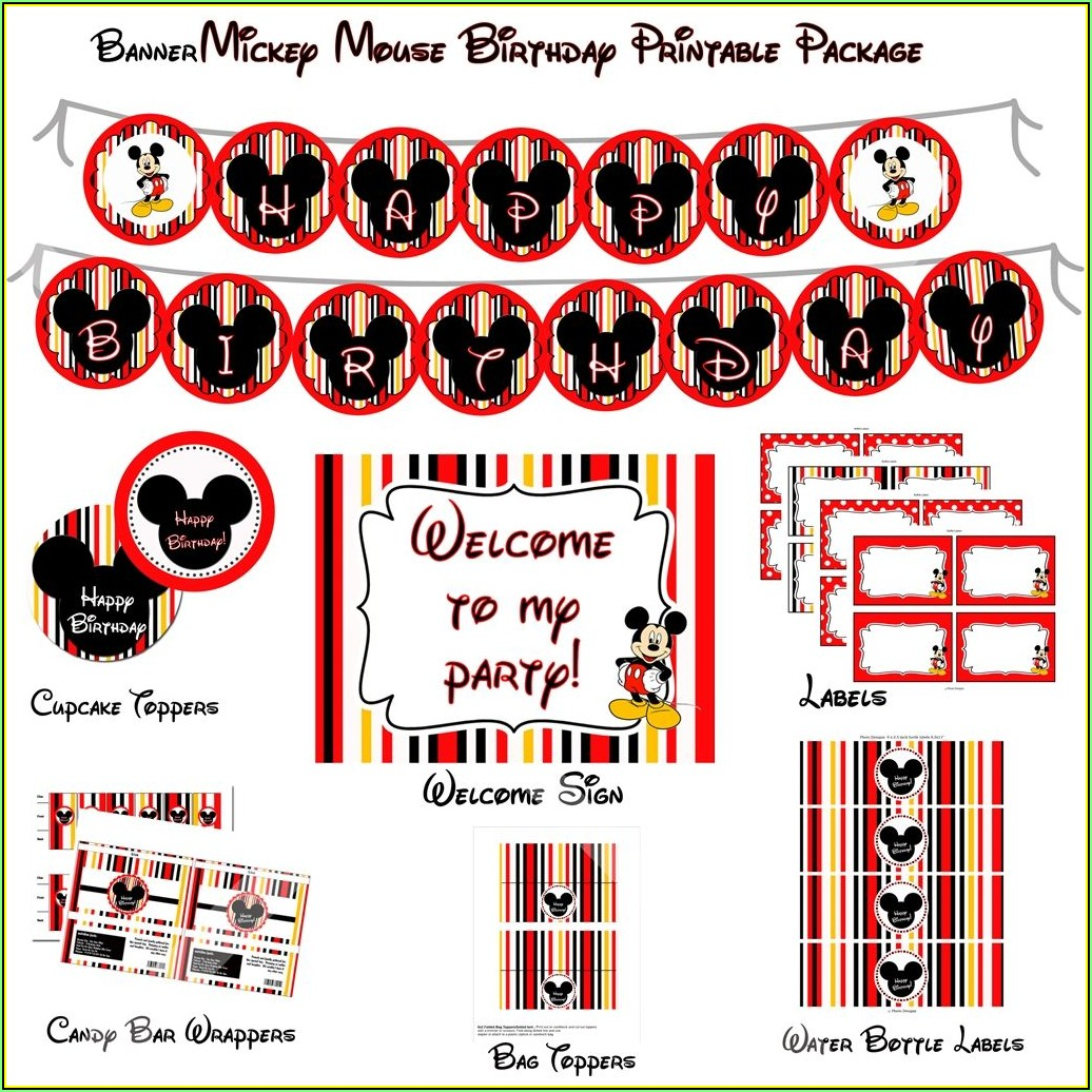 Mickey Mouse Birthday Party Invitations Templates