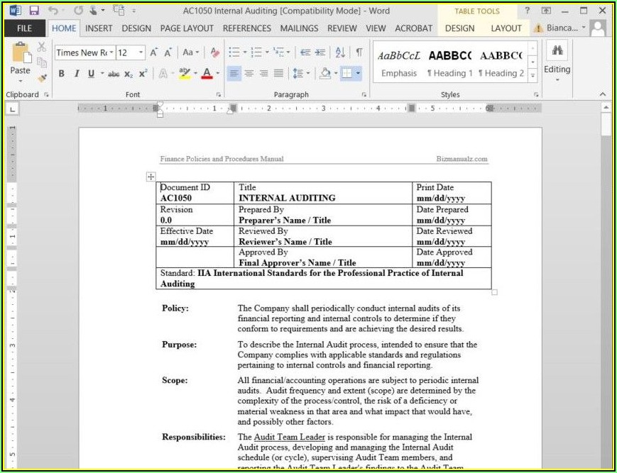 Microsoft Office Procedure Manual Template