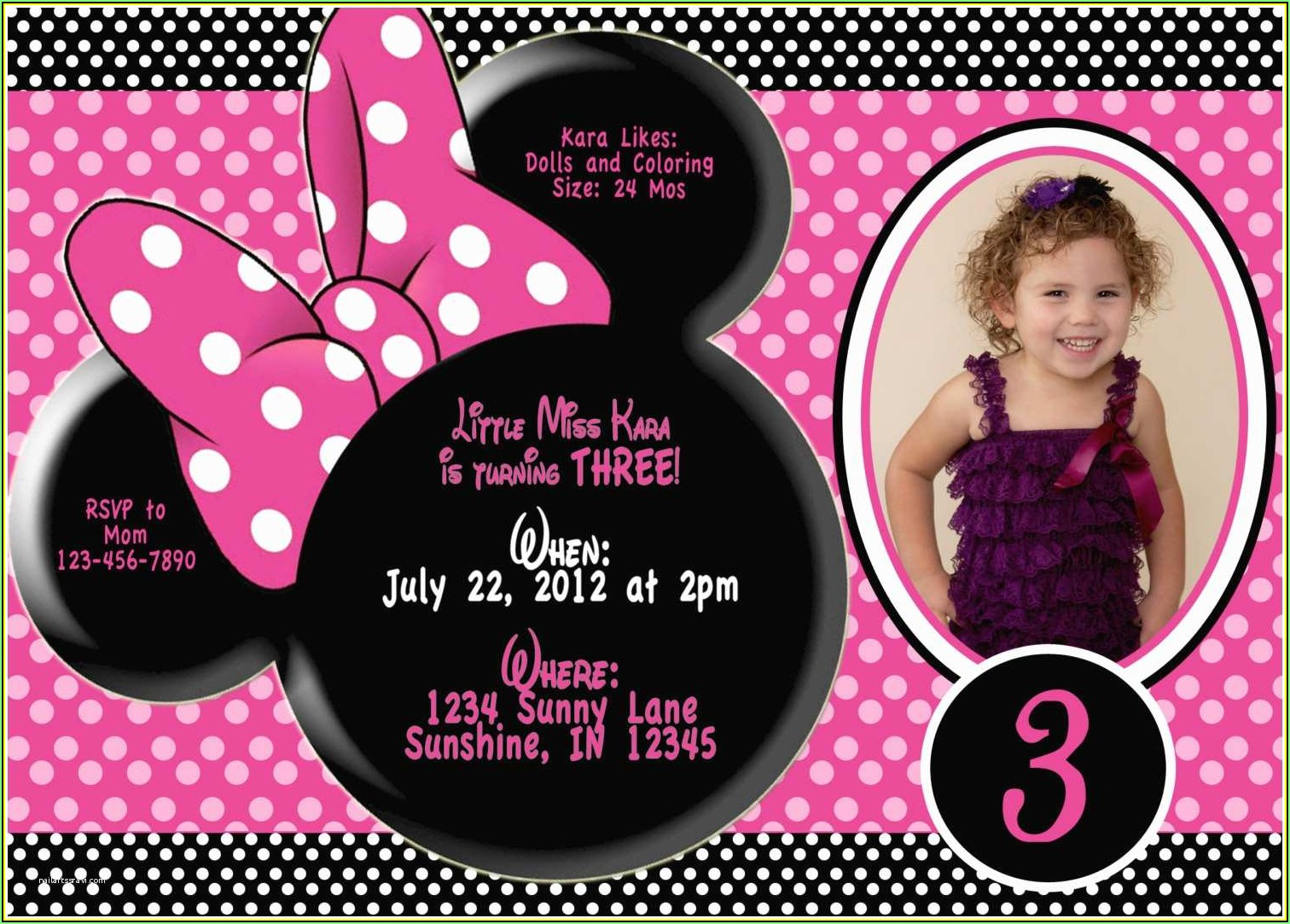 Minnie Mouse Birthday Invitation Wording