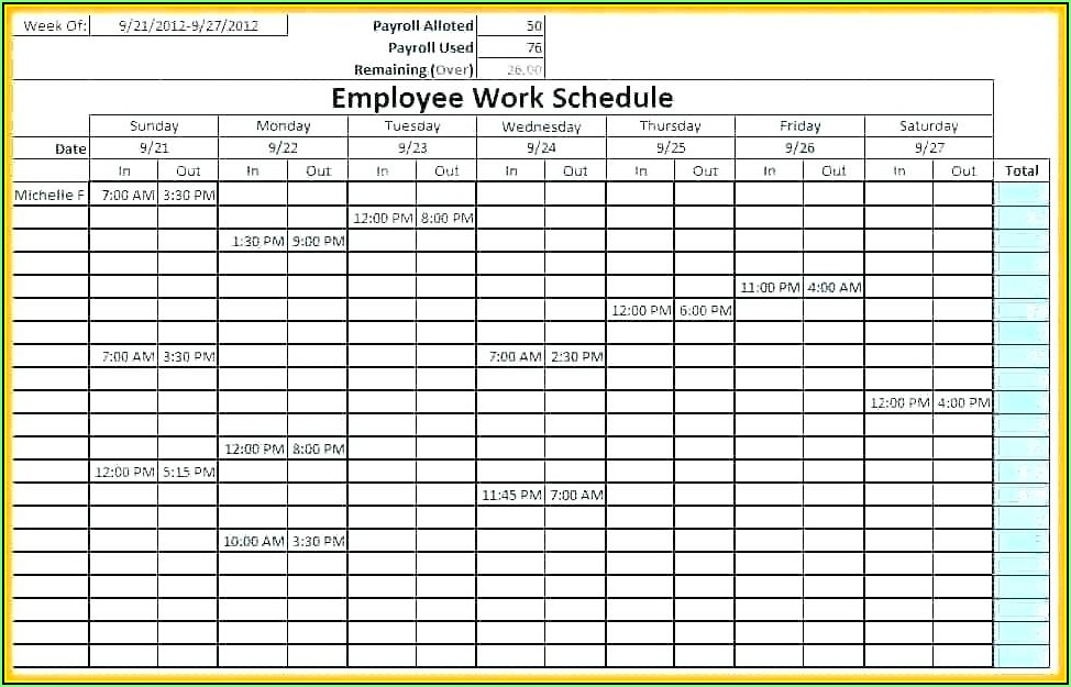 Monthly Employee Shift Schedule Template Download