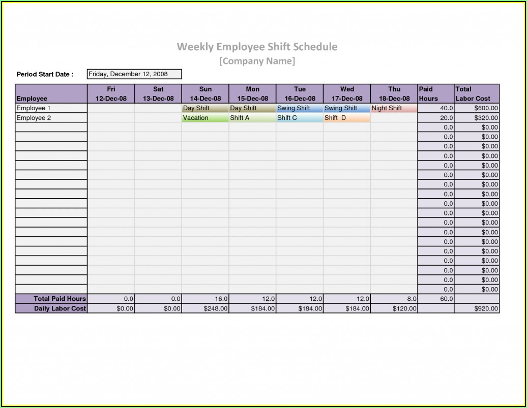 Monthly Employee Shift Schedule Template Excel Free