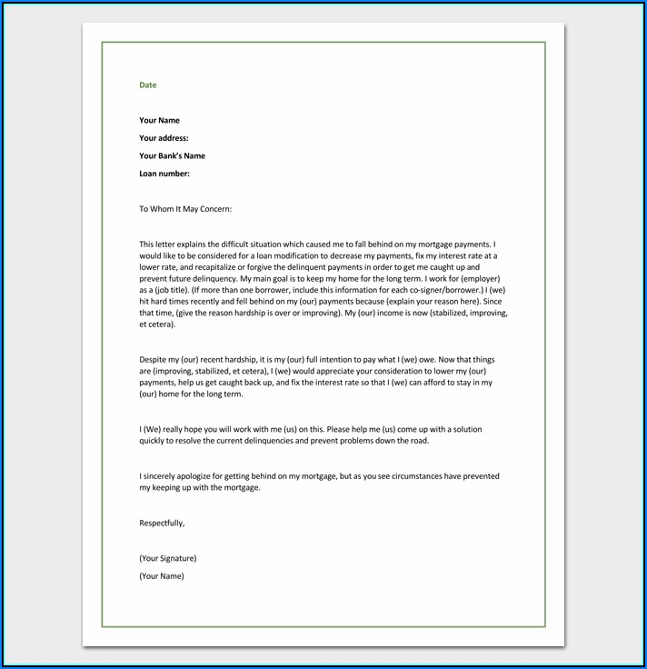 Mortgage Loan Modification Hardship Letter Example