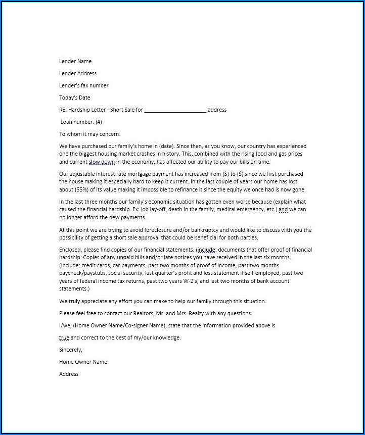 Mortgage Modification Hardship Letter Template