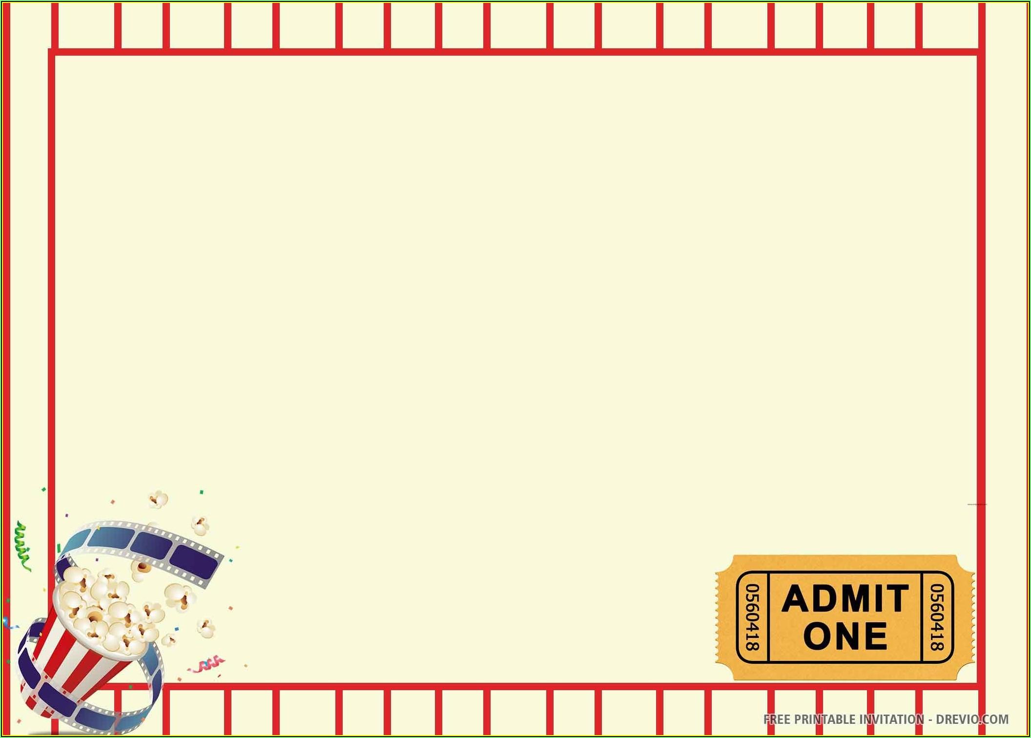 Movie Ticket Birthday Invitations Template Free