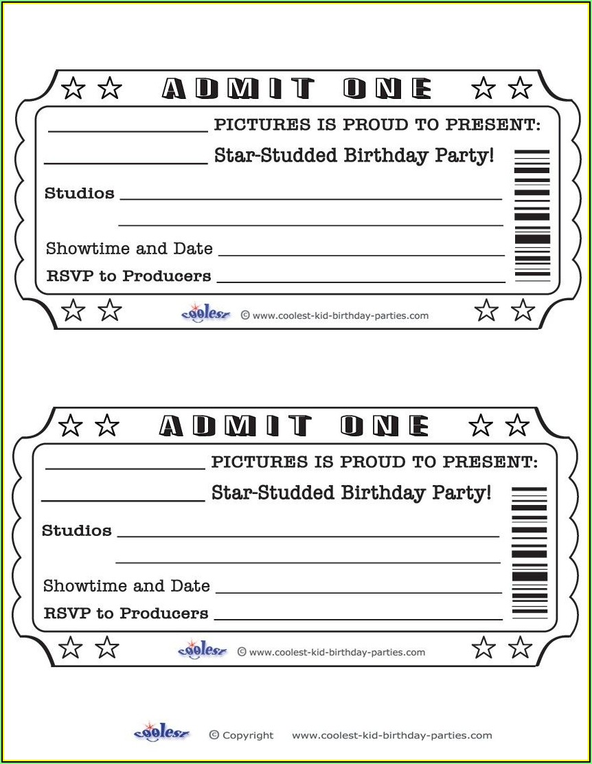 Movie Ticket Invitation Template Free Download