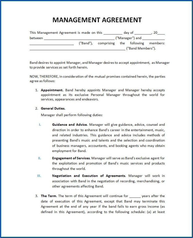 Music Artist Management Contract Example