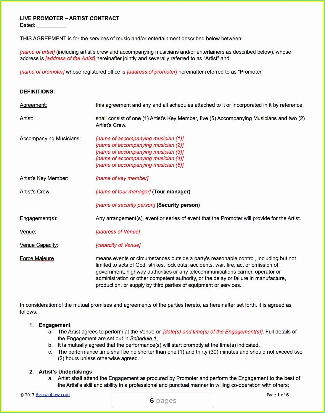 Music Artist Performance Contract Template