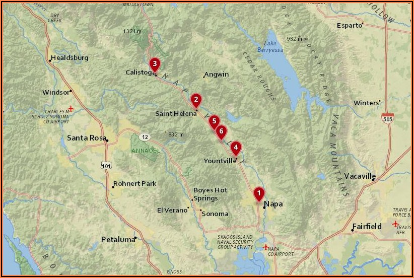 Napa Valley Hotels Map