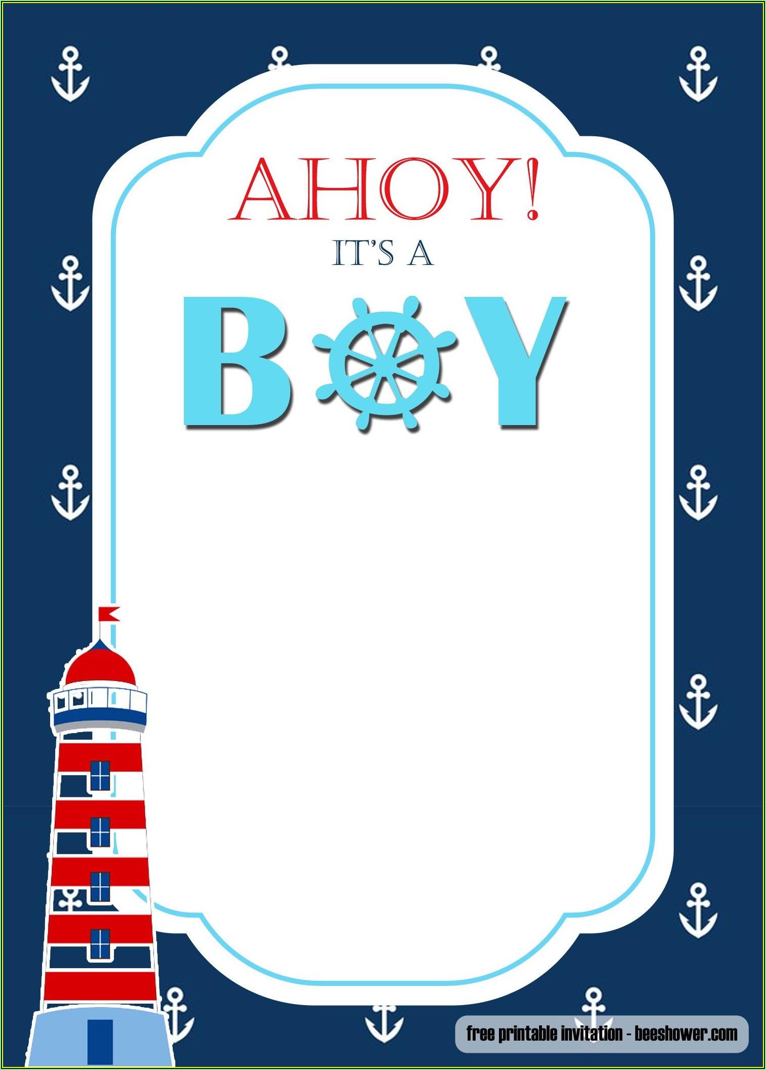 Nautical Themed Baby Shower Invitation Free Templates