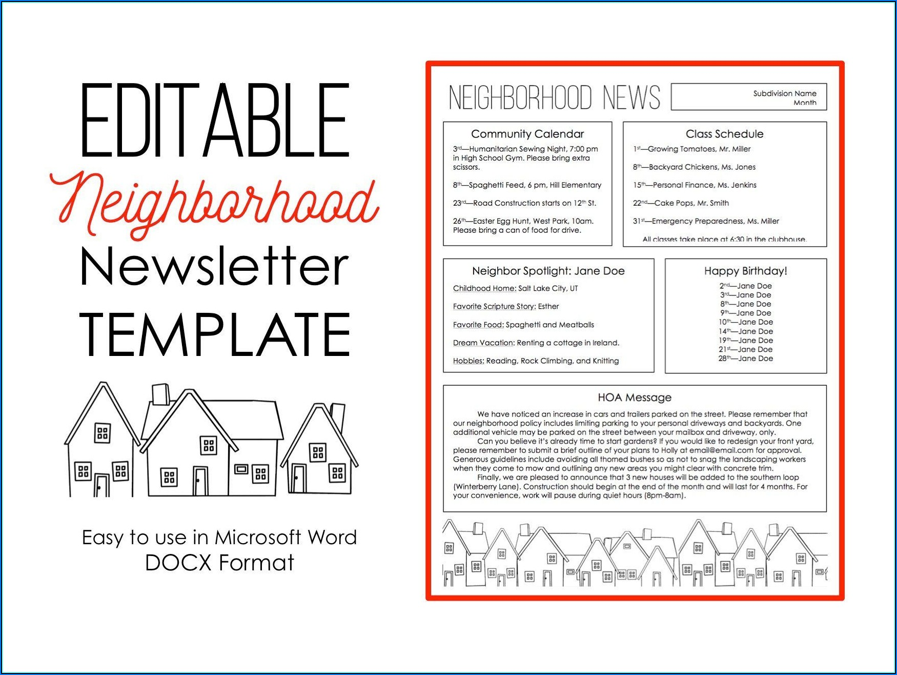 Neighborhood Newsletter Templates Free