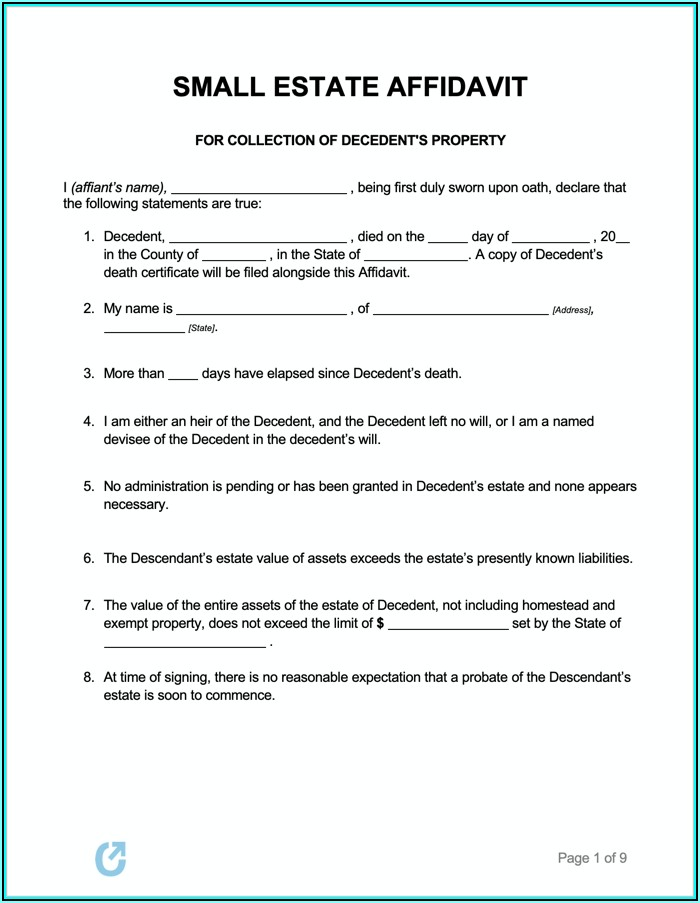 New York State Small Estate Affidavit Form
