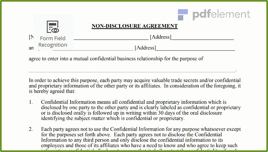Non Disclosure Agreement Template Free Download