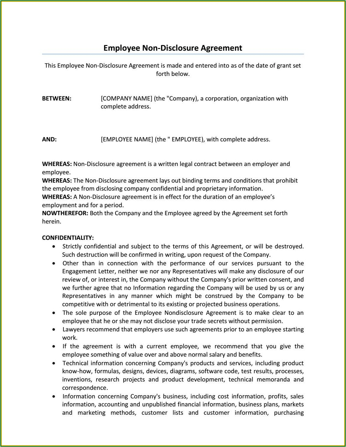 Non Disclosure Agreement Template Free Uk