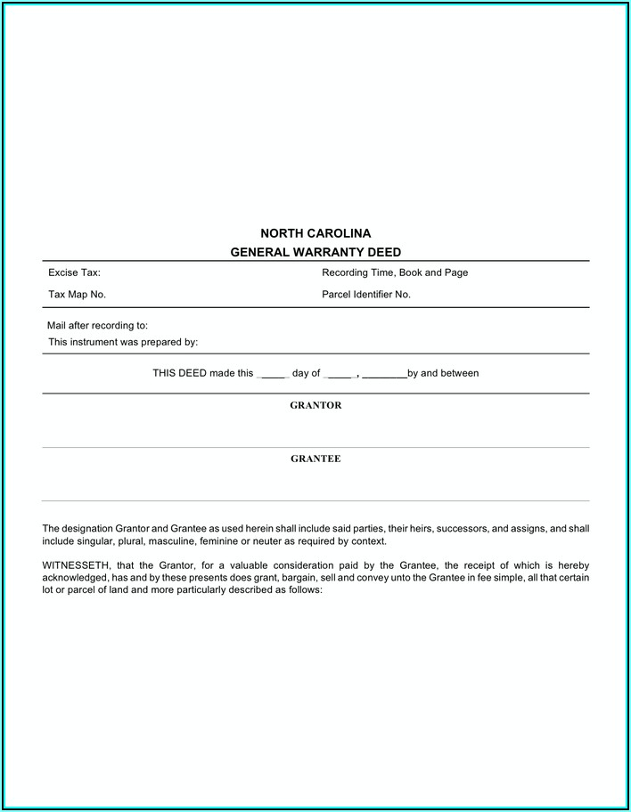 North Carolina General Warranty Deed Form