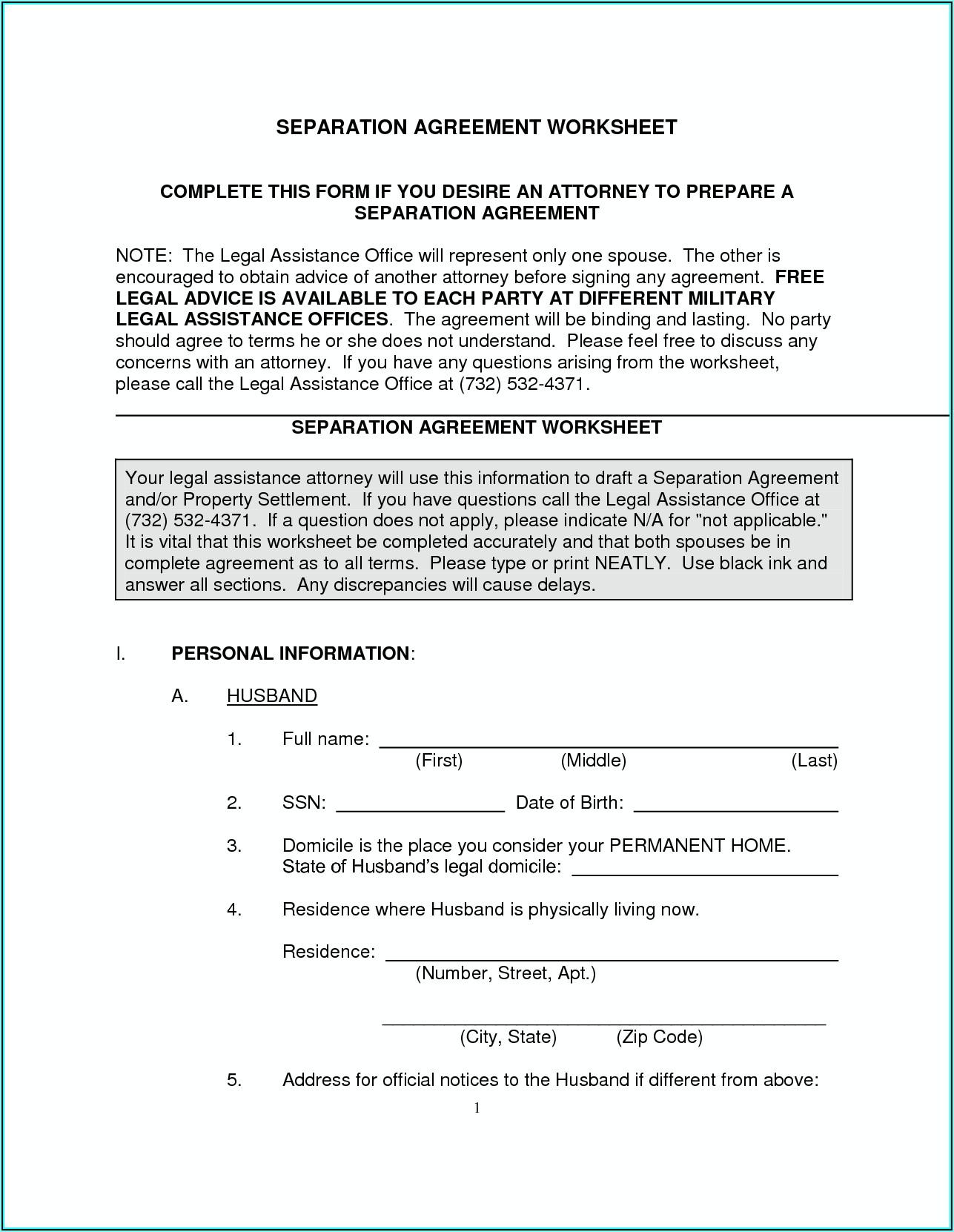 North Carolina Legal Separation Forms
