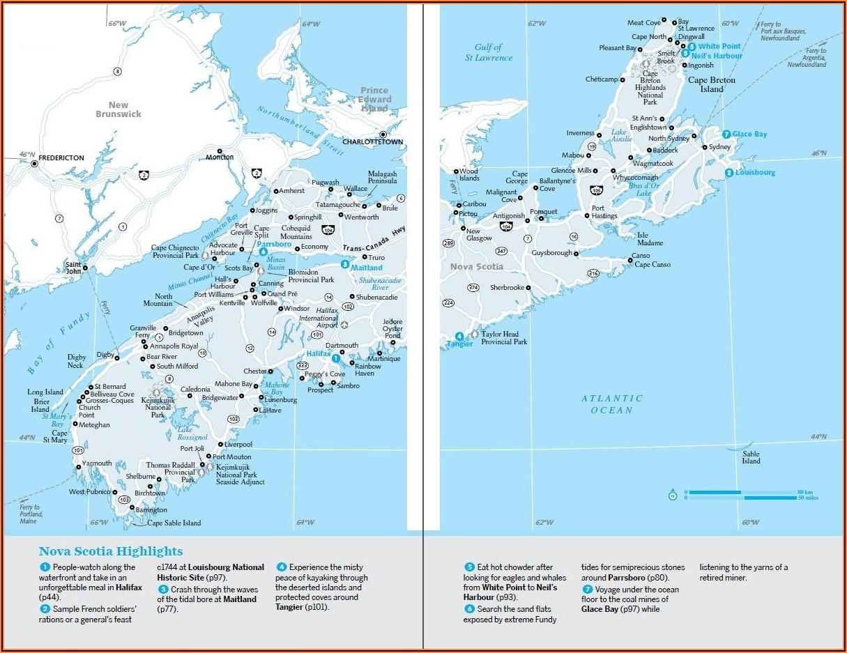Nova Scotia Map Driving Times