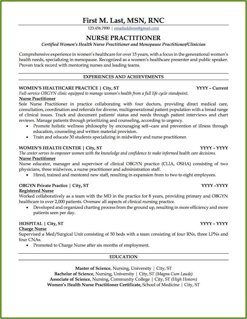 Nurse Practitioner Curriculum Vitae Template