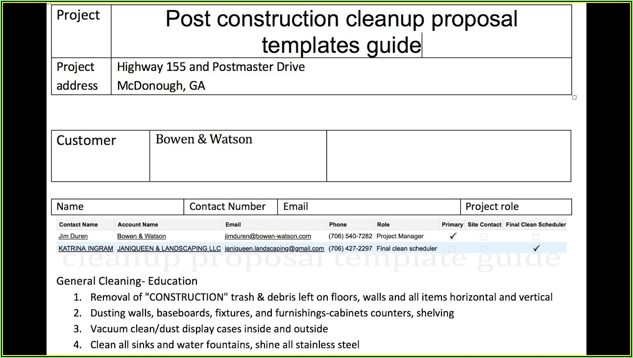 Office Cleaning Proposal Template Pdf