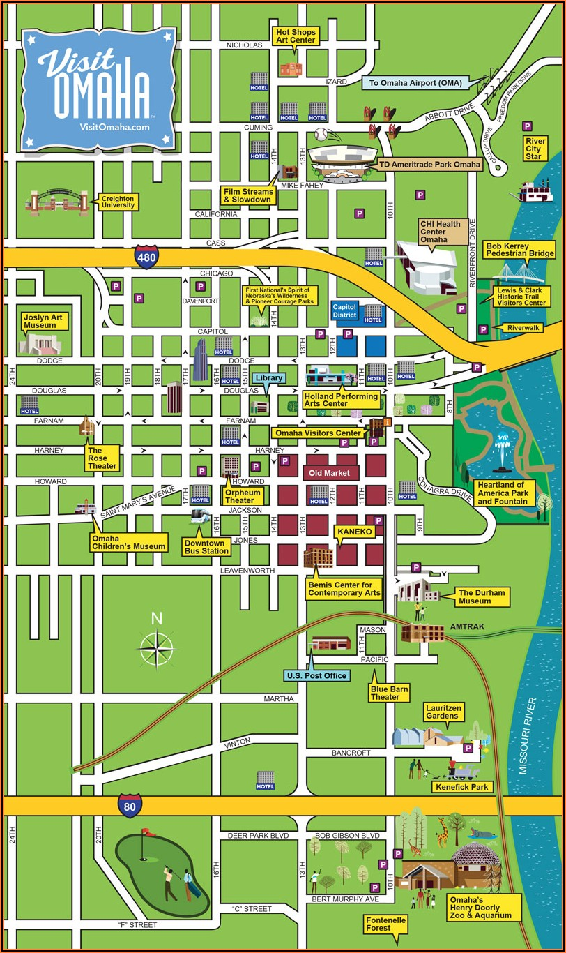 Omaha Downtown Hotels Map
