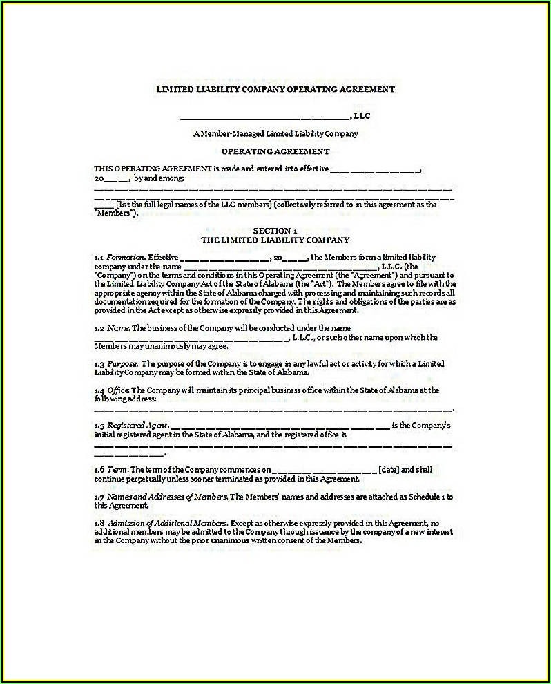 Operating Agreement Form For Florida Llc