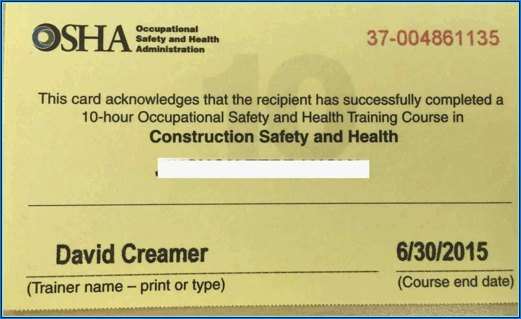 Osha 30 Hour Card Template