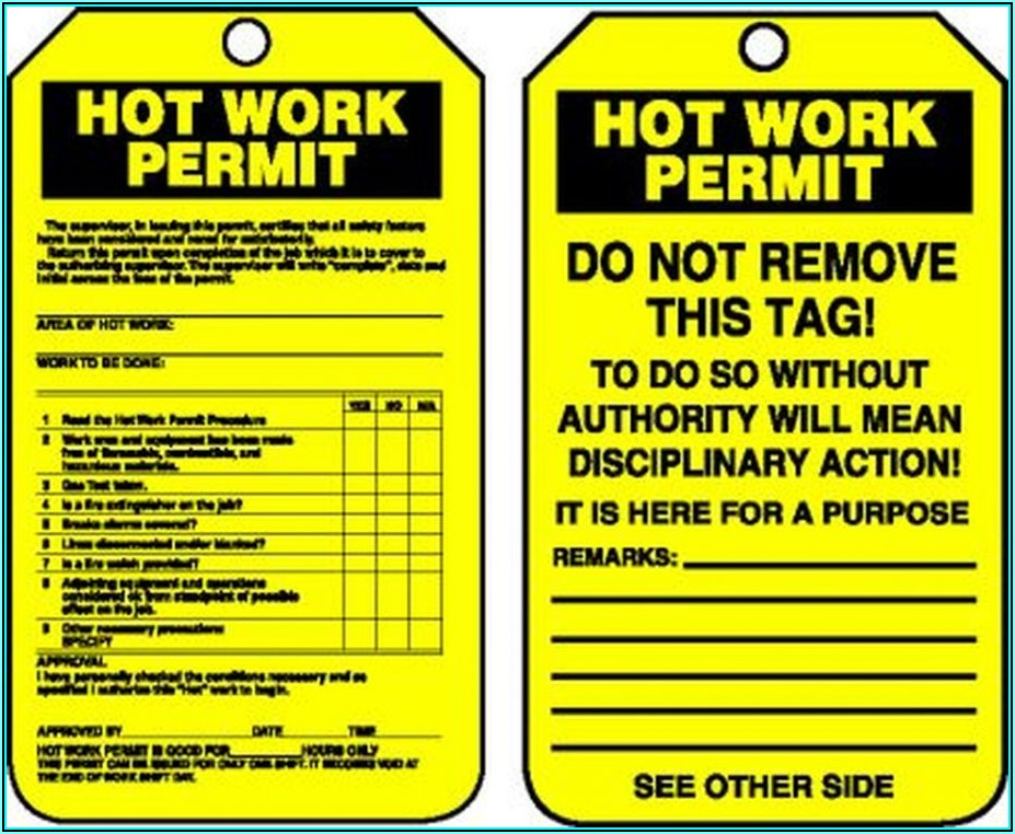 Osha Hot Work Permit Form