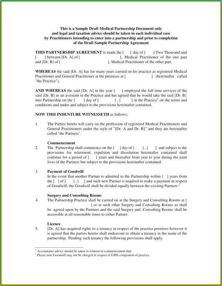Partnership Agreement Format Pdf
