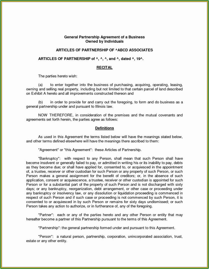 Partnership Agreement Forms Pdf