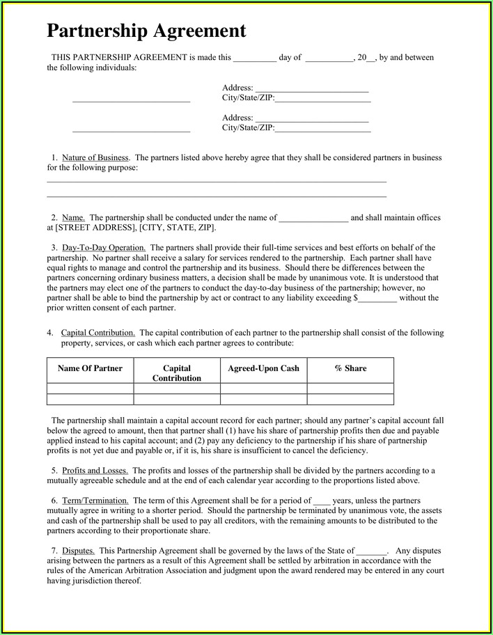 Partnership Agreement Template Pdf