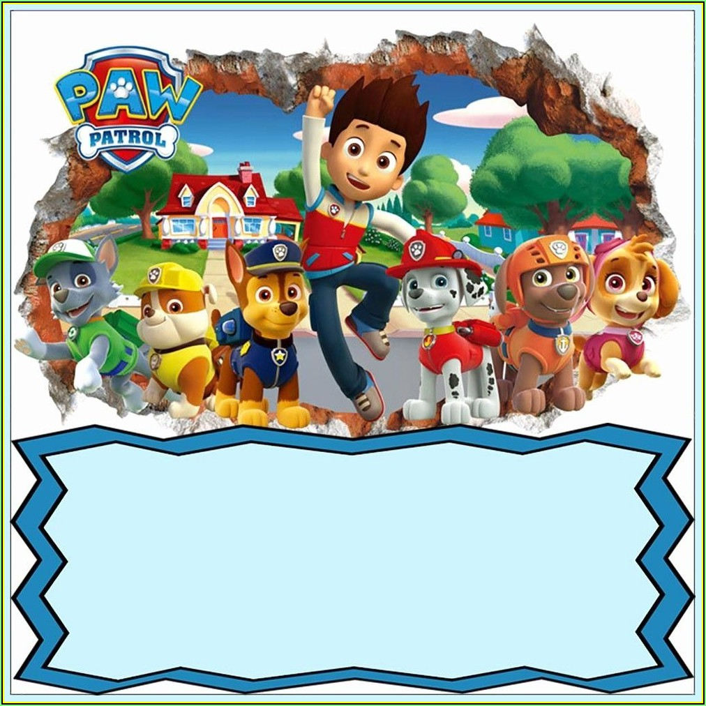 Paw Patrol Birthday Invitation Card Template