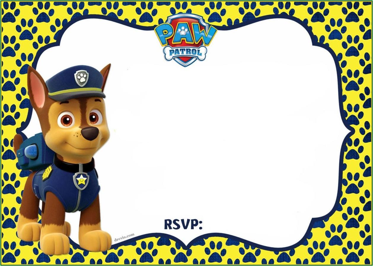 Paw Patrol Birthday Invitation Template Free