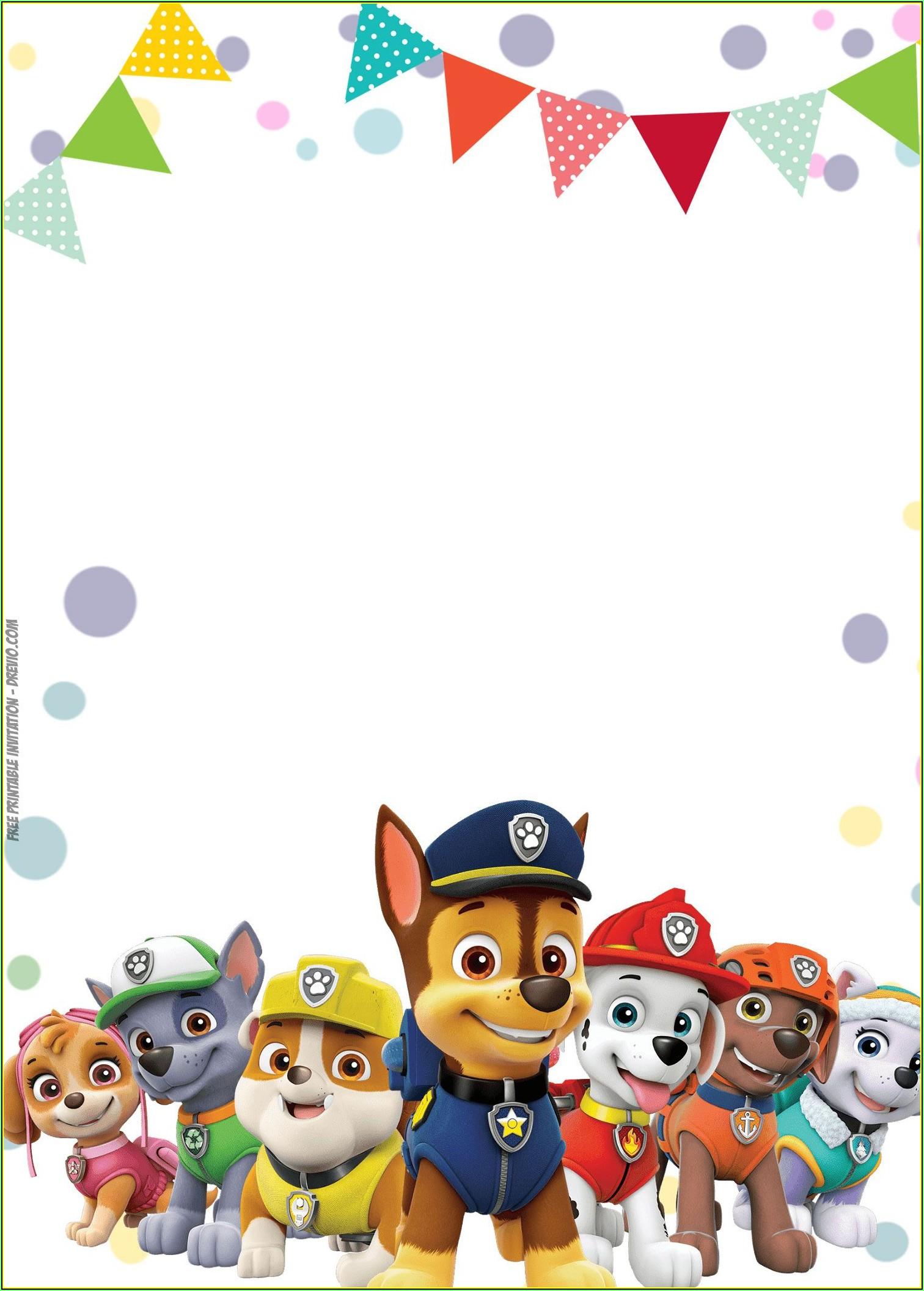 Paw Patrol Birthday Invitation Templates