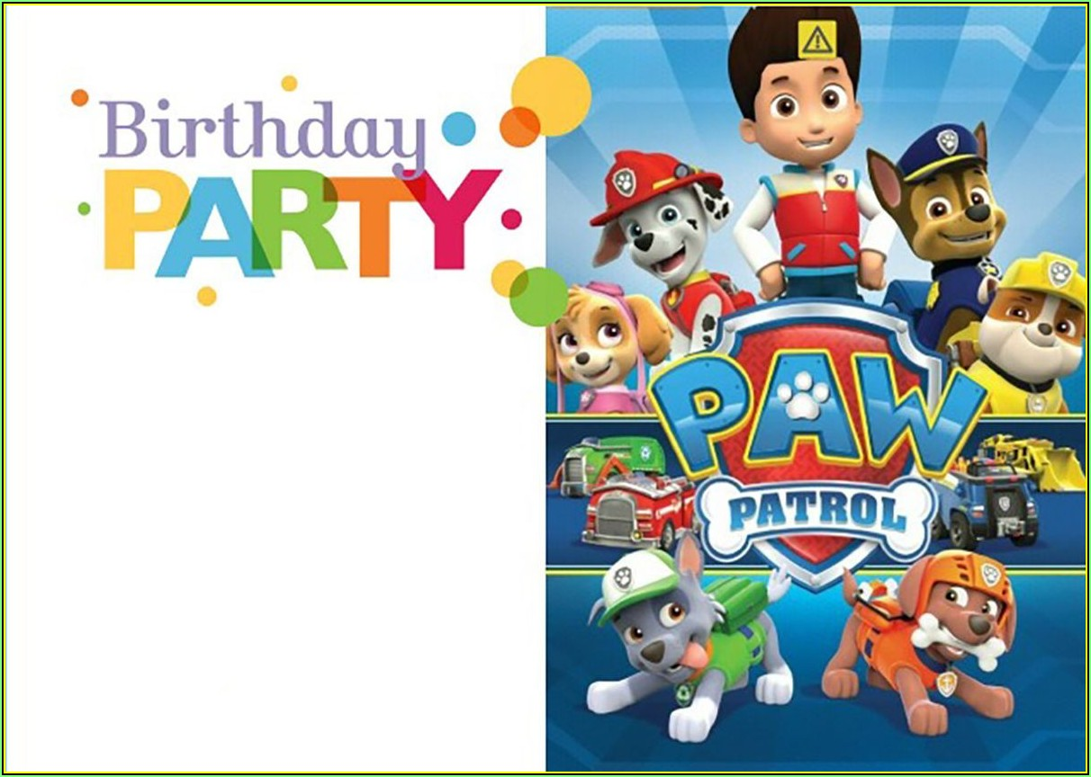Paw Patrol Birthday Invite Template Free