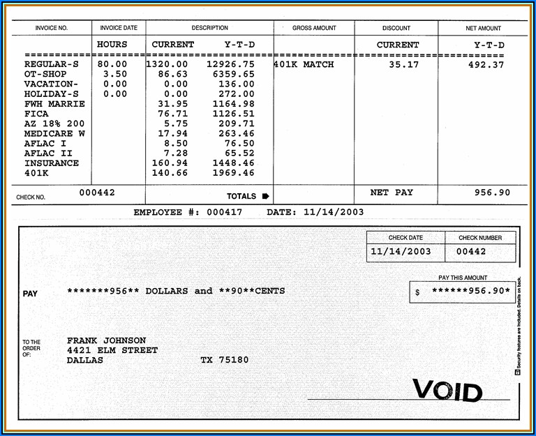 Paycheck Check Stub Template