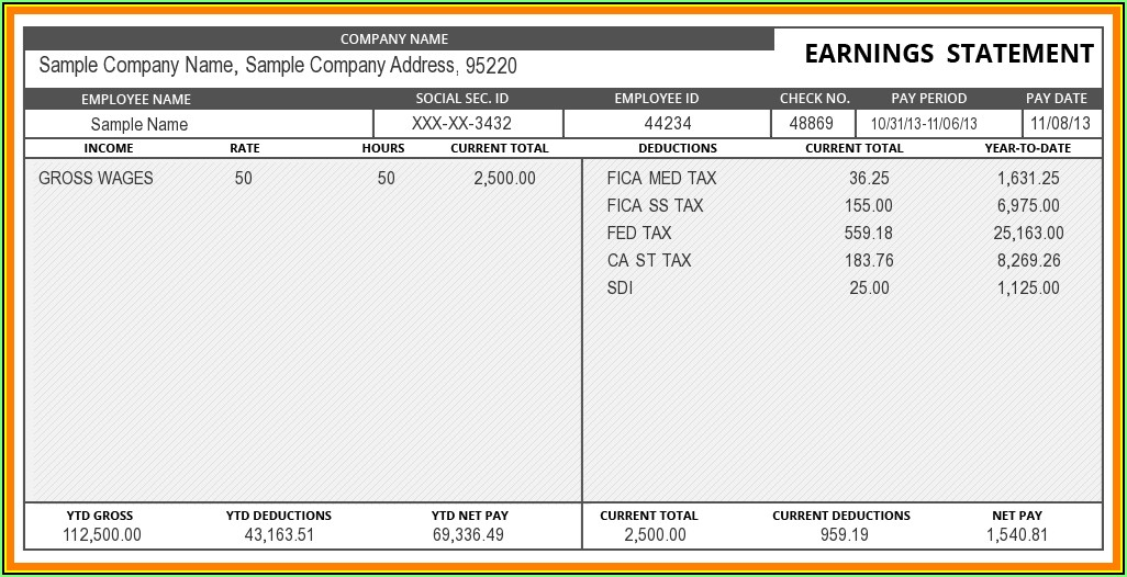 Payroll Pay Stub Template
