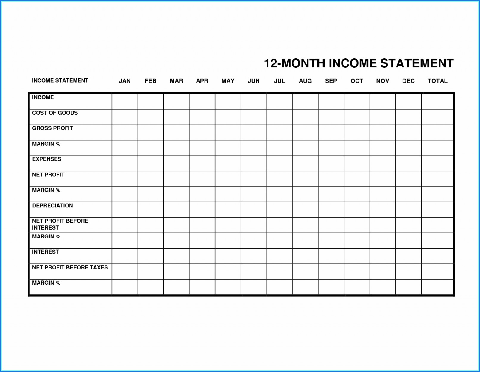 Personal Monthly Balance Sheet Template Excel
