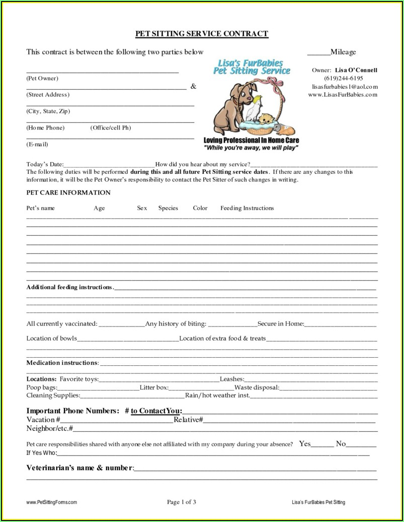 Pet Sitting Templates Free