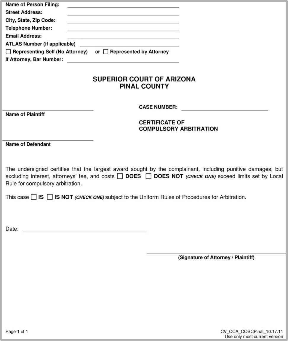 Pinal County Justice Court Forms