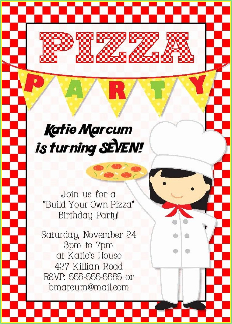 Pizza Birthday Party Invitation Templates