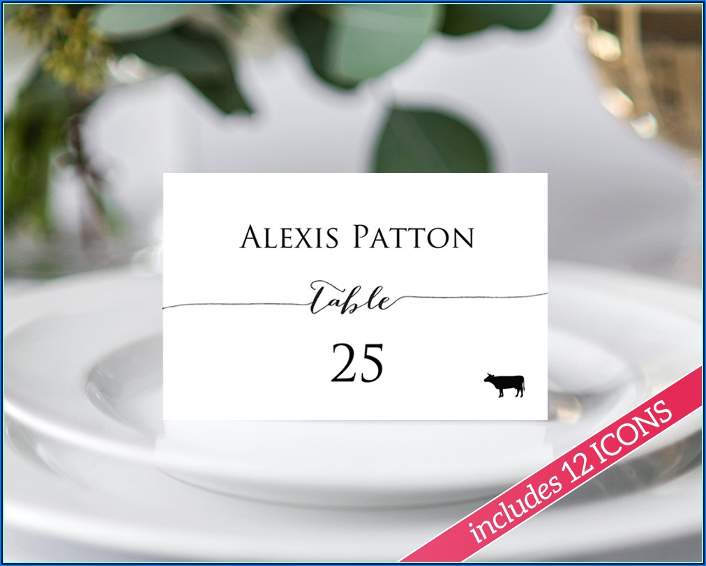 Place Cards With Meal Choice Free Template
