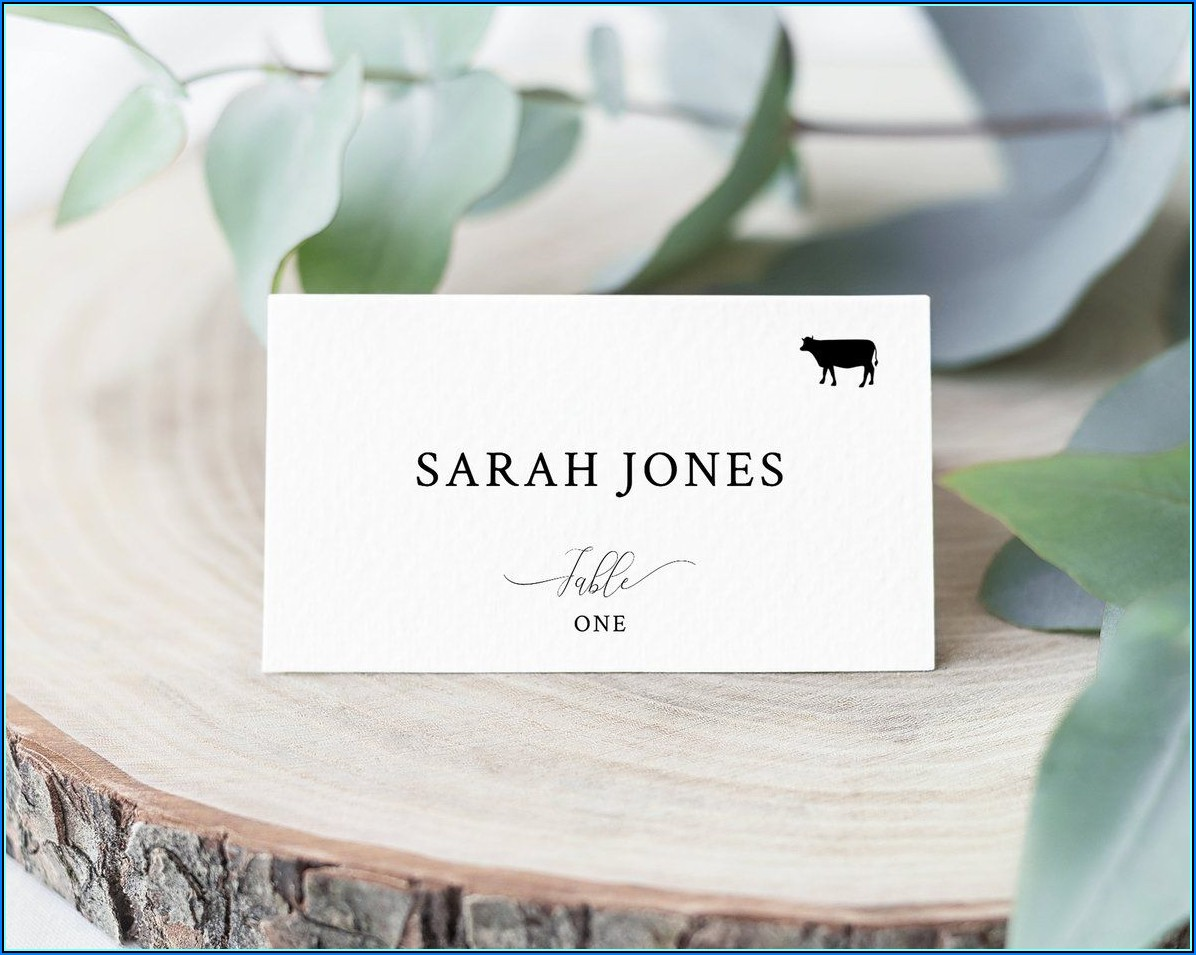 Place Cards With Meal Choice Template
