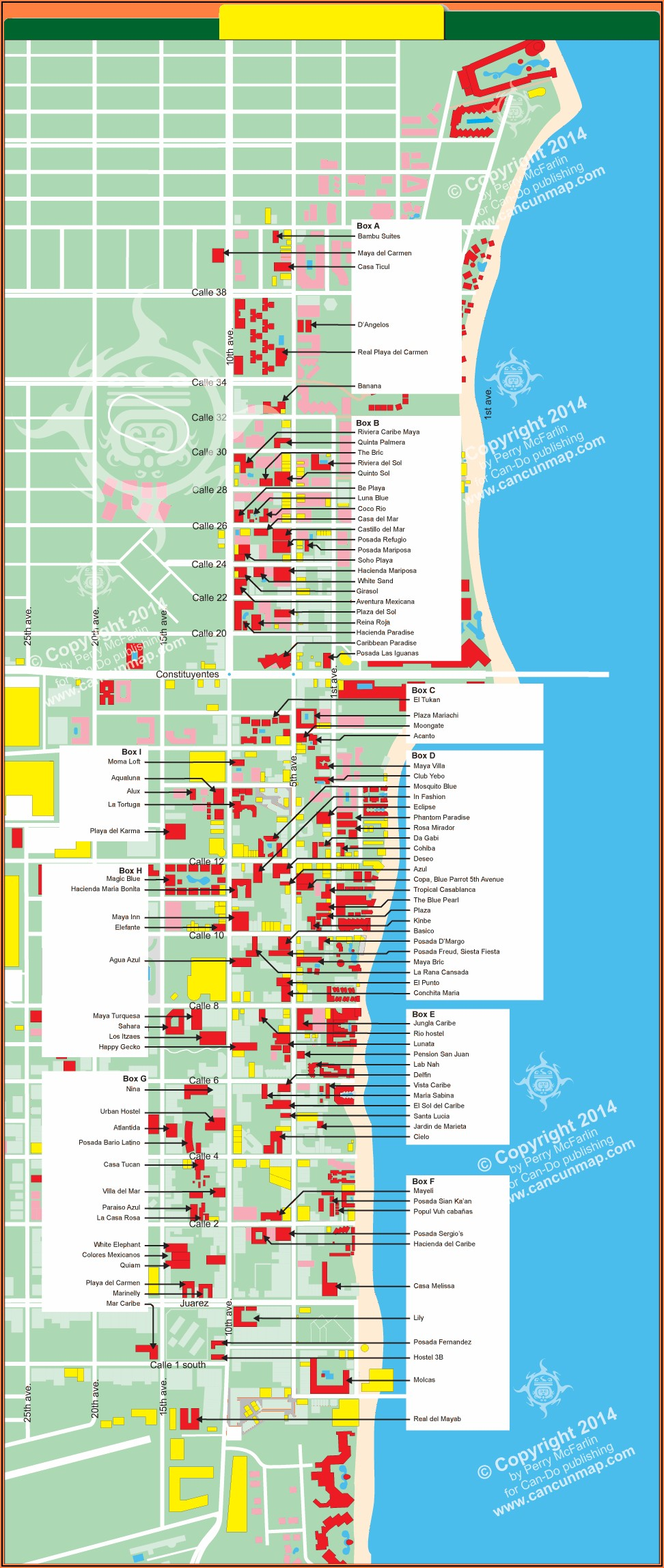Playa Del Carmen Hotels On The Beach Map