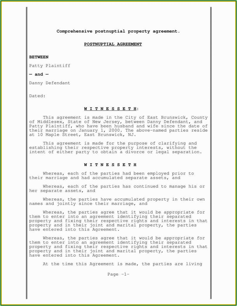 Postnuptial Agreement Template New Jersey