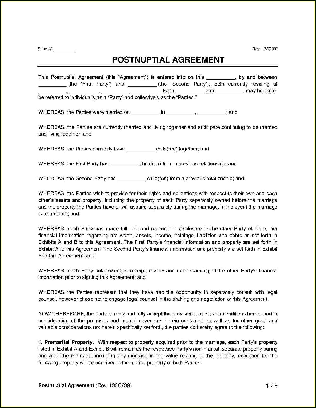 Postnuptial Agreement Template Word