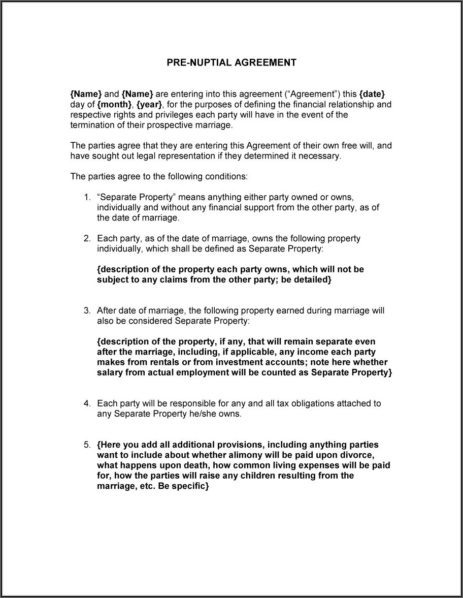 Prenuptial Agreement Template Free
