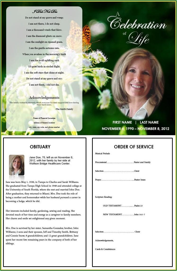 Printable Funeral Program Template Free