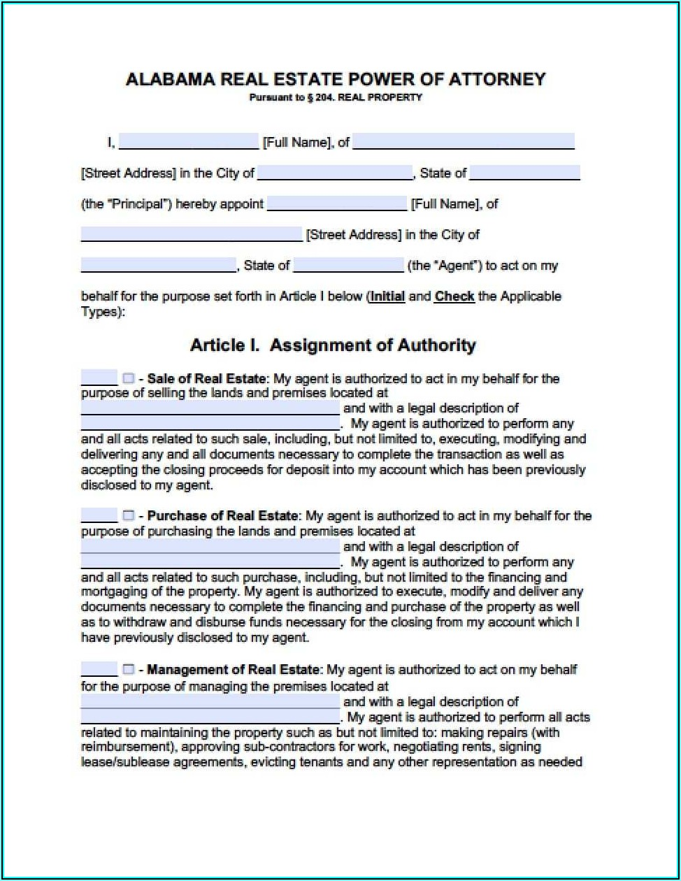 Printable Power Of Attorney Form Alabama