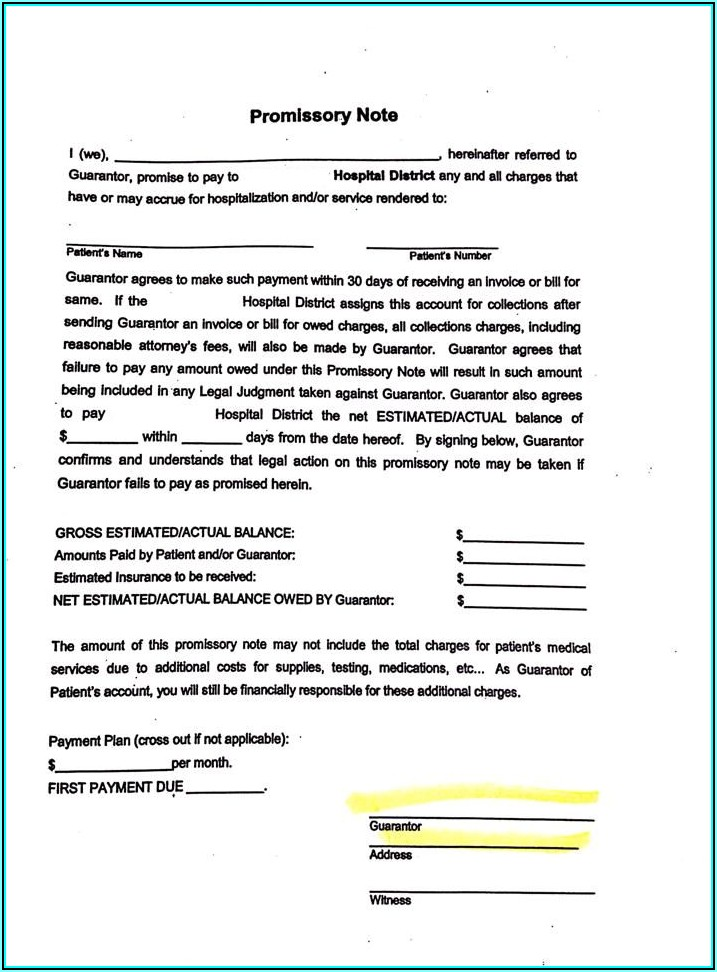 Printable Promissory Note Form