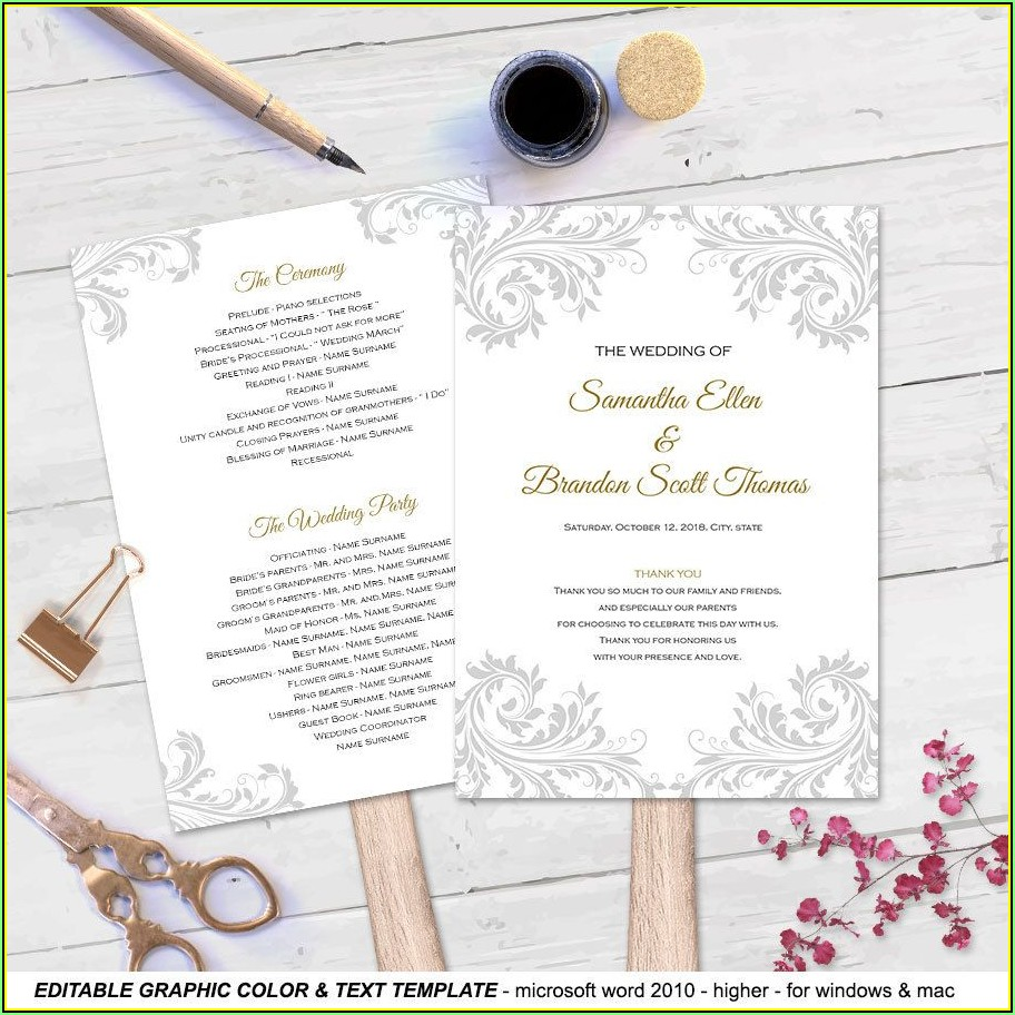Printable Wedding Fan Program Templates